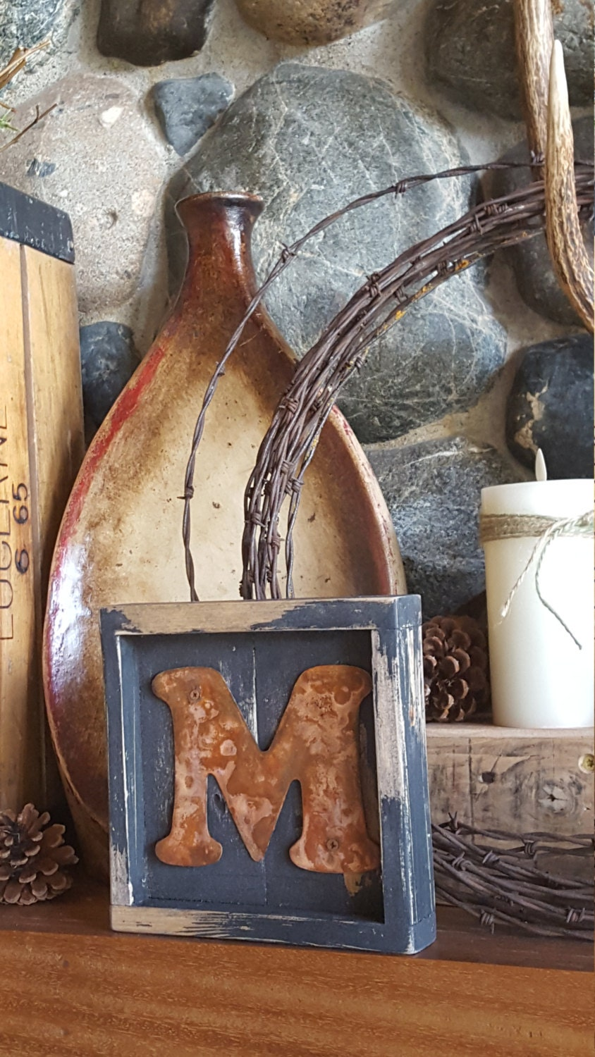 mini letter initial sign rustic home decor pallet board sign
