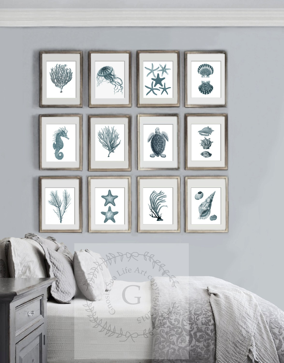 summer beach home decor sea coral decor beach art decor set of 12 prints - Coastal Wall Decor