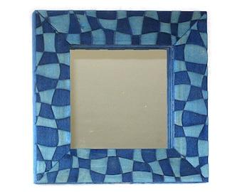 Decorative Mirror, Framed Mirror, Blue Mirror, Accent Mirror, Unique Mirror, Dramatic Mirror, Blue Decor, Under The Sea, Patchwork Frame