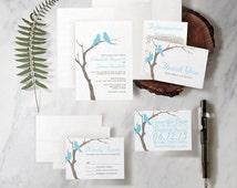 Modern Blue Birds Wedding Invitation Set/Suite, Printed/Printable Wedding Invitations/Invites, Save the date, Thank You Cards, Digital/PDF