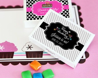 Personalized Birthday Gum Boxes Goodie Treats Candy Buffet Dessert Bar 15th Sweet 16 21st 30t 40th 50th 60th Bash Keepsake Thank You Gift