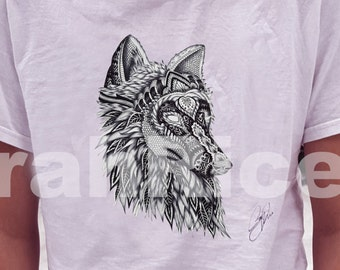 Wolf Art Shirt Short sleeve - T-Shirt - Wolf Shirt - Short Sleeve Shirt - Shirt - Wolf Art Print On Shirt- Short sleeve Shirt.