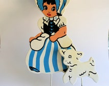 Wooden Garden Stakes, Mary Had a Little Lamb, or Little Bo Peep with Baby Lamb