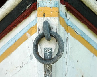 Nautical Decor, Boat photography, Beach Decor, Fishing Boat, Coastal Decor, boys room decor, blue, yellow, red, nautical wall art