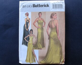 Evening Gown Uncut Pattern, Butterick 5183, Plus Size 16, 18, 20, 22, 24