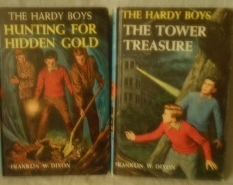 2 Vintage Hardy Boys The Tower Treasure and Hunting for Hidden Gold - Dixon # 1  & # 5