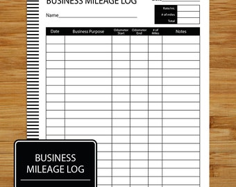Mileage Log - Business Mileage Tracker - Coordinates with Business Planning Set - BLACK AND WHITE