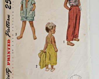 Simplicity Pattern 3248 - 1950s Child's Pants, Shorts, Pedal Pushers and Shirt