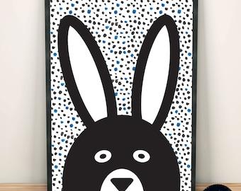 Bunny Rabbit Monochrome print, Black & White Printable Dots Background A3