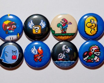 "Set of 8 Super Mario World 1"" Pinback Buttons."