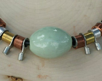 Statement necklace on leather with brass, copper, and ceramic-completely original