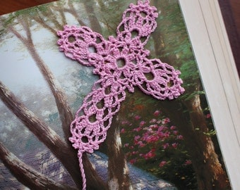 Crochet cross bookmark, Egyptian cotton, pink