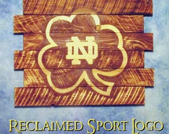 Notre Dame University, FREE UV protector, 30X23, Burnt wall hanging, Shou Sugi Ban, Charred wood, Wood Sports sign, Rustic, Pallet wood