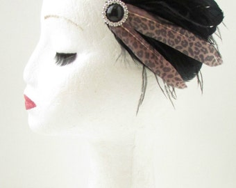 Black Leopard Print Feather Fascinator Hair Clip Rockabilly 1950s Ascot 40s B57