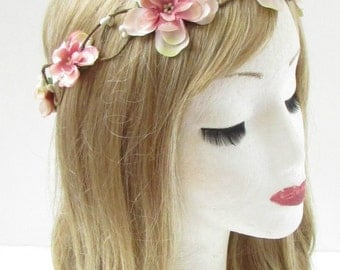 Blush Pink Ivory Magnolia Flower Headband Hair Crown Wreath Festival Garland 724