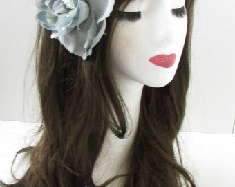 Large Grey Peony Flower Hair Clip Vintage Bridesmaid Rose 1950s Rockabilly X-21