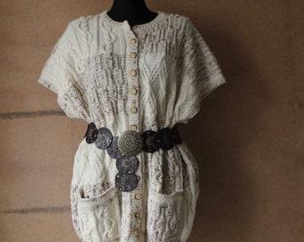 Vintage Handmade Oatmeal Beige White Wool Braid Knitted Cardigan Sweater Vest Top Plus Size