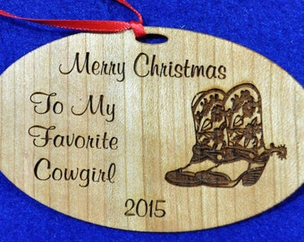 Western Christmas Gift.  Cowgirl Gift.  Western Ornament.  Gift For Farmer.  Engraved Western Gift.  Cowboy Gift.  Cowboy Boots.  Farm Gifts