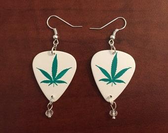 Flat Cannabis Dangle Earrings