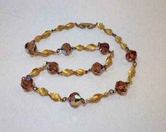 SALE Vintage Necklace Amber Crystals, Amber Gold Necklace, Amber Necklace, Vintage Gold Necklace, Crystal Gold Necklace, Aurora Borealis
