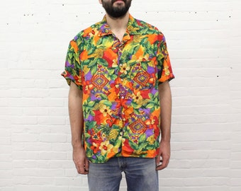 vintage hawaiian floral print shirt from the 1980's / 1990's, size extra large / xl to xxl / 2xl