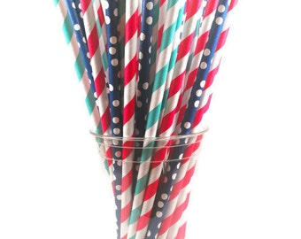 Blue Red Navy White Paper Straw Mix