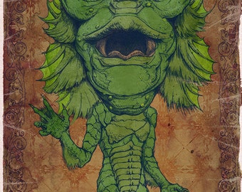 Creature from the Black Lagoon Art Print by award winning artist Brady Stoehr