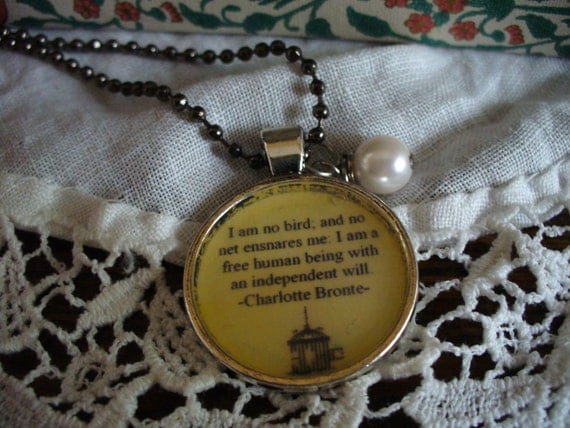 Book Nook, Book Quote Necklace, Jane Eyre Quote Necklace, Charlotte Bronte Quote, Literature Quote Necklace, Quote Necklace, MarjorieMae