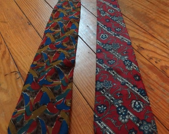 "Lot of 2 Vintage 80s Christian Dior men's neckties made in the USA, silk 58"" long"