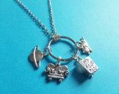 BIG BANG THEORY inspired silver tone 4 charm necklace keyring Sheldon  gang fan gift tv series present jewellery Uk