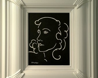 Matisse Femme - A Hand-Painted Framed Canvas Panel in Homage to Henri Matisse - Portrait of a Woman