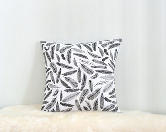 Black And White Feather Print Envelope Cushion Cover