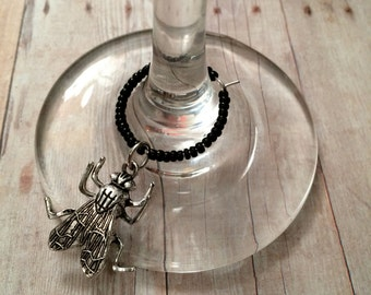 Housefly Wine Charm - Silver Tone - Black Beads