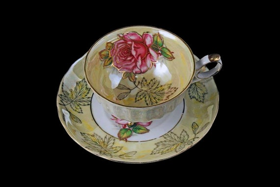 Three Footed Teacup and Saucer, Royal Halsey, Lusterware, Pink Rose and Leaf, Light Yellow, Gold Trim, Fine China, Opalescent, Iridescent