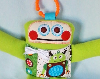 RUDY ROBOT PLUSHIE soft stuffed robot, cutie-bot, green robot toy, fleece robot, 11 inches, toddler gift, baby shower gift