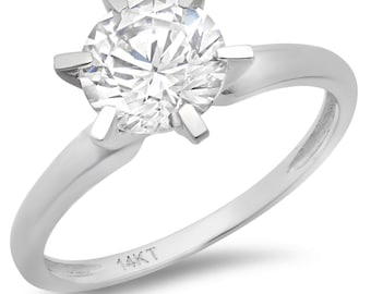 Simulated Diamond Ring, Simulated Diamond Rings, 2.0 Ct Simulated Diamond Round Solitaire Engagement Wedding Band Halo Solid 14k White Gold