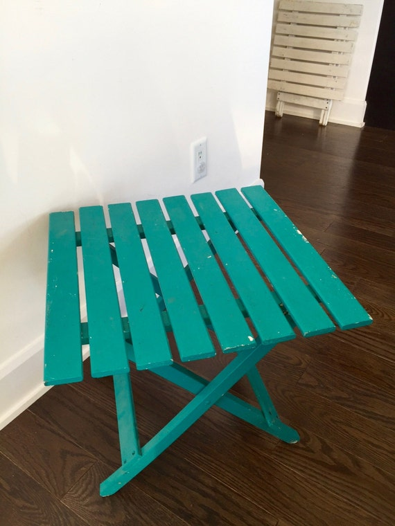 Vintage Wood Folding Table Small Turquoise Slat Wooden Camp