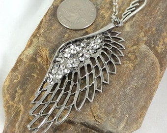 Statement Necklace, Wing Necklace, Silver Wing Necklace, Boho, Angel Wing Jewelry, Wing Pendant, Rhinestone Wing Pendant, Angel Wing Pendant