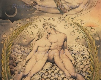 "William Blake ""Endearments of Adam and Eve"" 1808 Reproduction Digital Print Serpent Temptation Christianity Religion Creation Archangel"