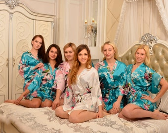 CD1 ght Green  Robes Kimono Satin Robes Wedding Gifts Getting Ready Robes Bridal Party Robes Floral Robes Dressing Gown Ready Hair Robes