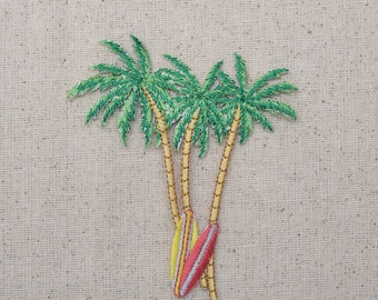 Three Palm Trees - Two Surf Boards - Beach - Embroidered Patch -  Iron on Applique - 1126831A