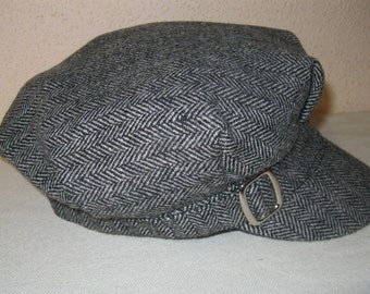 Vintage Women's Hat / Women's Cap / tweed pattern