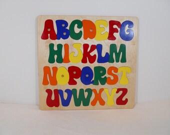 Wooden Alphabet Puzzle, ABC Puzzle, Handmade