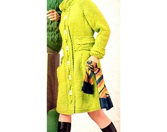 Women's Retro Cool Knitted Coat Pattern from the 60s