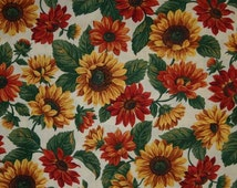 SUNFLOWER Fabric By The Yard, Half or Fat Quarter Floral Wildflower Yellow Green Natural Sunflower 100% Cotton Quilting Apparel Fabric t4/12