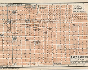 1909 Salt Lake City Utah Antique Map