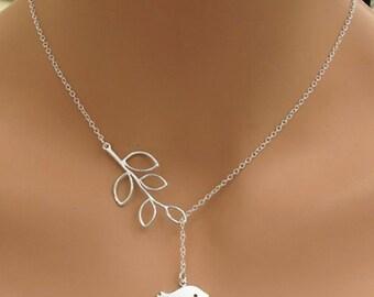 Leaf and Bird Lariat Necklace-Women's Leaf Bird Pendant Necklace