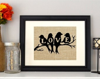 Love Birds Burlap Print