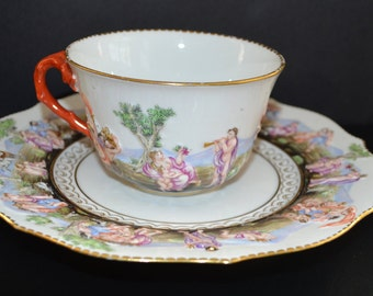 Antique Ginori Doccia Capodimonte Cup & Saucer Set Mold Blown CAPO DI MONTE Rococo Branch Handle Bas Relief Mythological Italian Decor