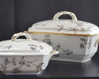 Antique Limoges France Porcelain Soup Tureen Casserole Set Price REDUCED CF Field Haviland 1800s Antique French Serving Dishes